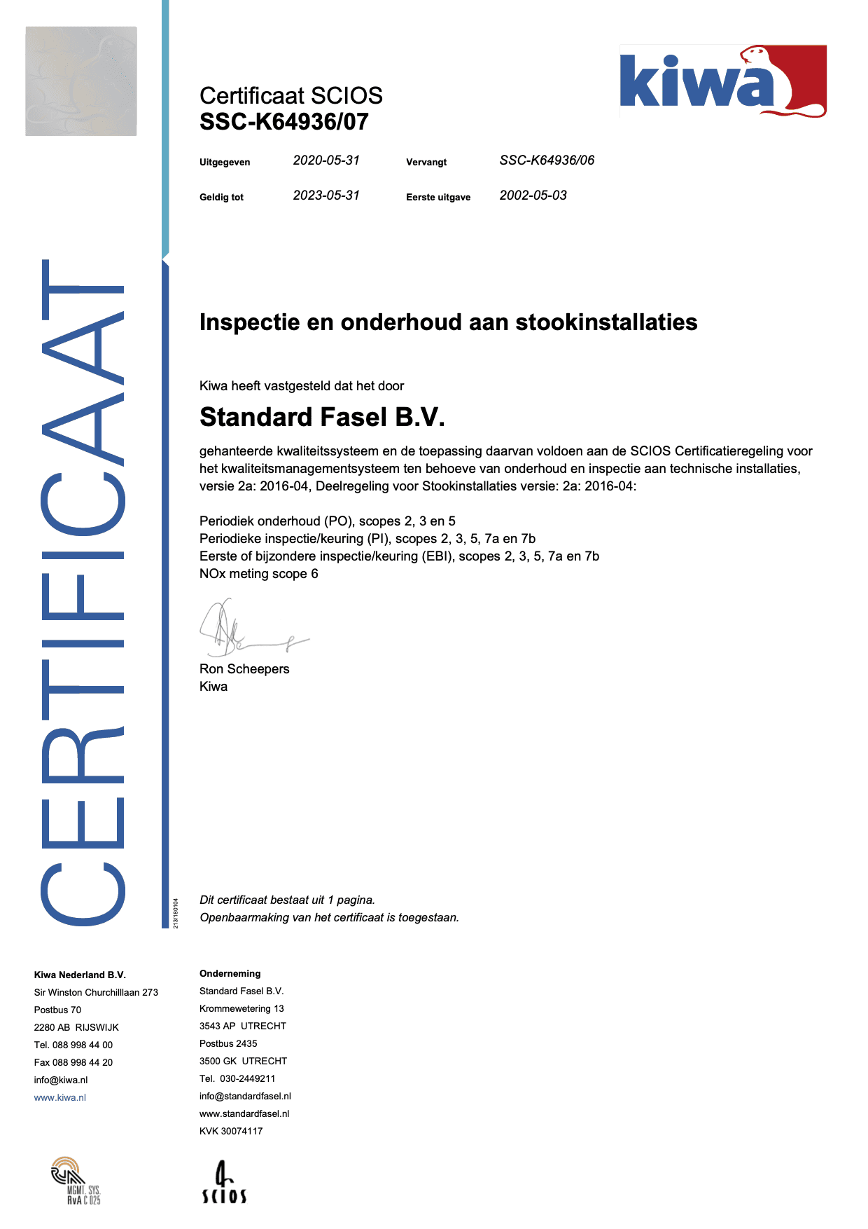 Scios certificaat