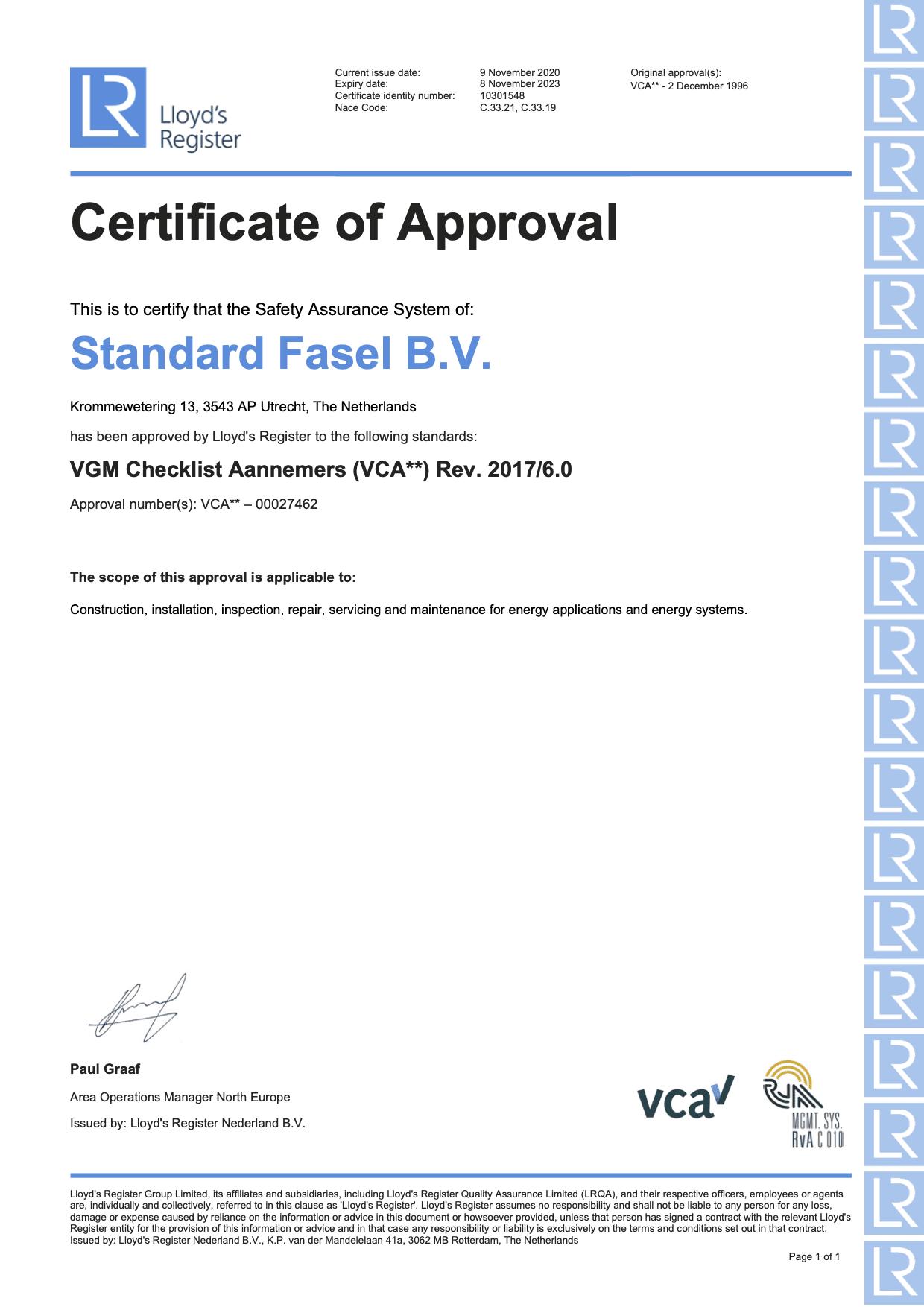 Vca certificaat standard fasel