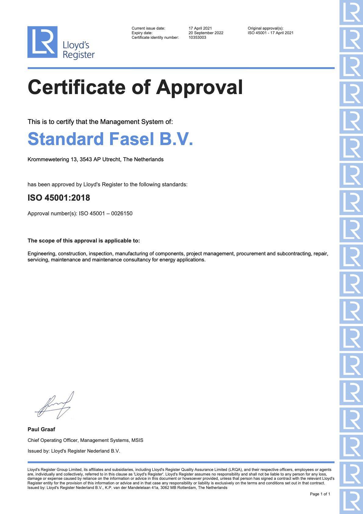 Iso 45001 certificering